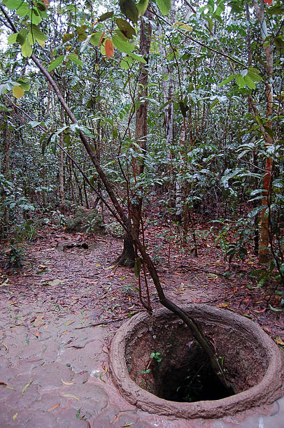Vietcong at Cu Chi tunnels area, Vietnam Vietcong at Cu Chi tunnels area, Vietnam viet cong stock pictures, royalty-free photos & images
