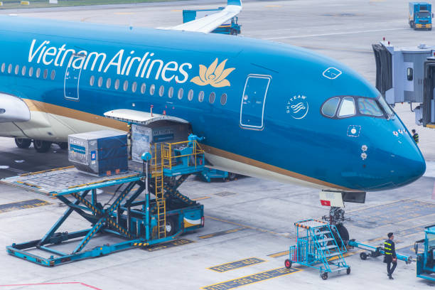 Vietnam Airlines aircraft loading air cargo containers before flight at Noi Bai international airport in Hanoi, Vietnam. - foto stock