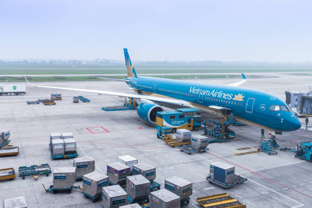 HANOI, VIETNAM - March 9, 2019 : Vietnam Airlines aircraft loading air cargo containers before flight at Noi Bai international airport in Hanoi, Vietnam. - foto stock