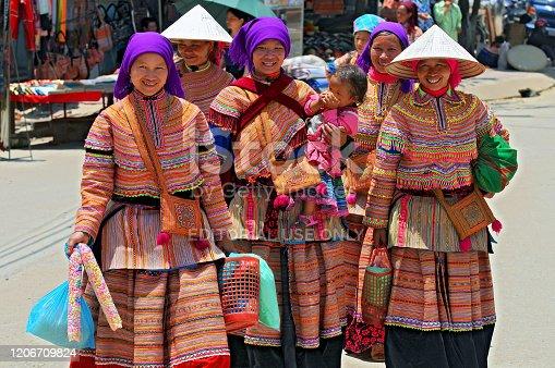 Vietnam, Bac Ha, Flower Hmong Woman, Bac Ha Market.