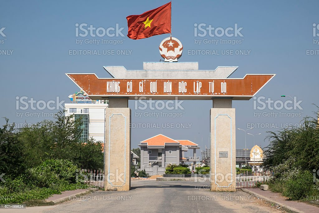 Vietnam border crossing with Cambodia Lizenzfreies stock-foto