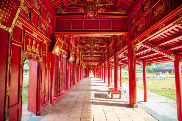 Vietnam, Hue Citadel. Forbidden City of Emperors, Passage in the imperial royal palace. Vietnam, Hue Citadel. Forbidden City of Emperors, Passage in the imperial royal palace. huế stock pictures, royalty-free photos & images