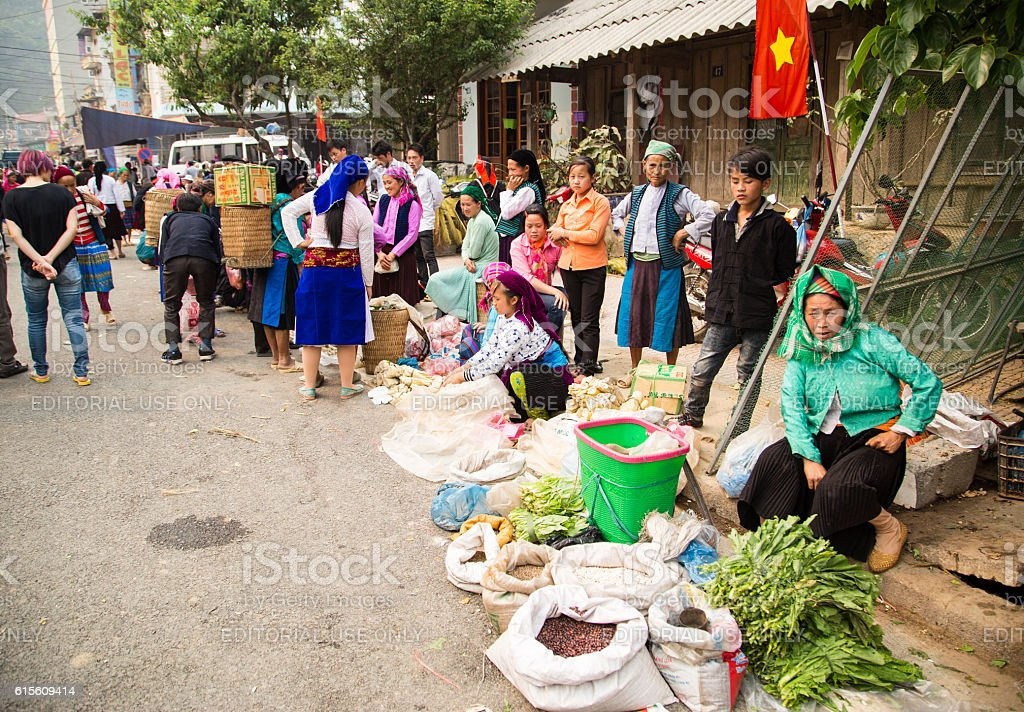 Vietnam local market stock photo