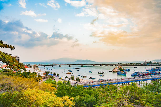 Vietnam. Nha Trang. View of the river Kai and the city stock photo