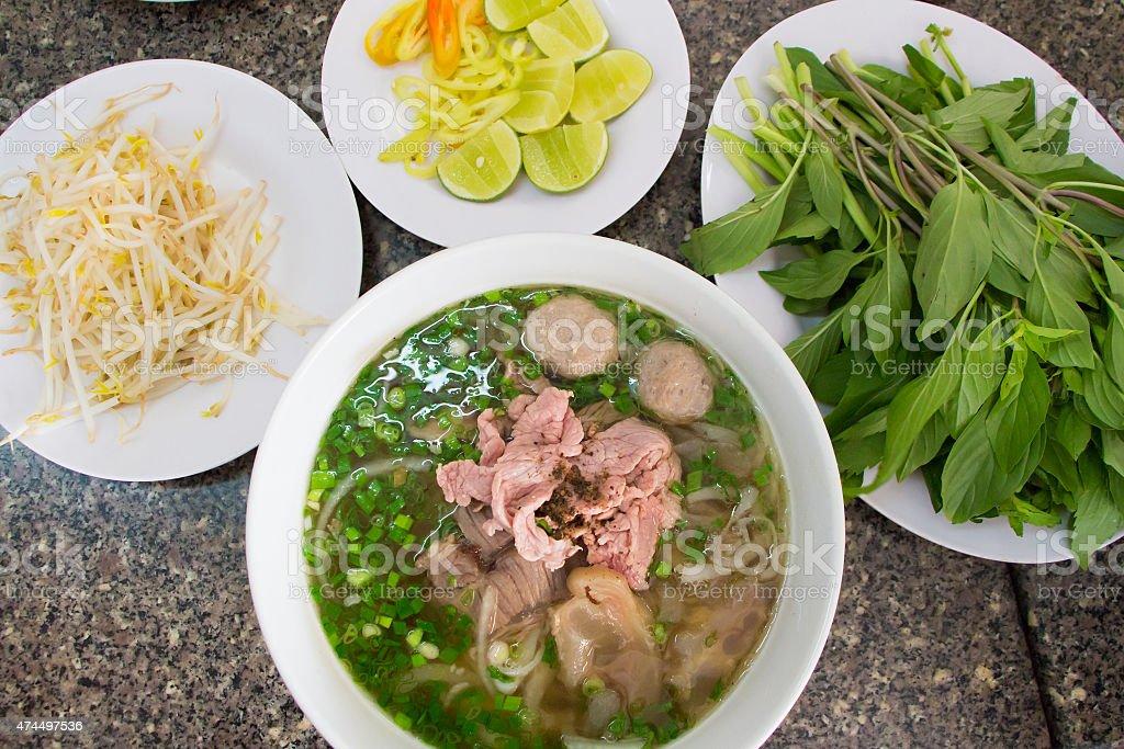 Vietnam noodle Set in Ho Chi Minh city stock photo