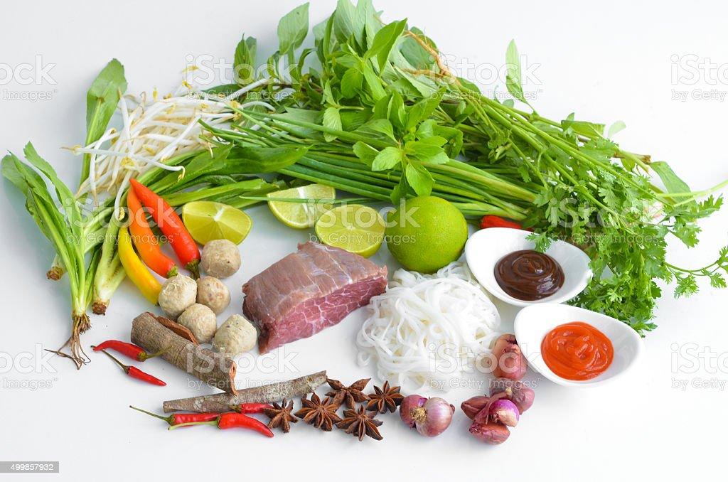 vietnam pho noodle soup ingredients stock photo