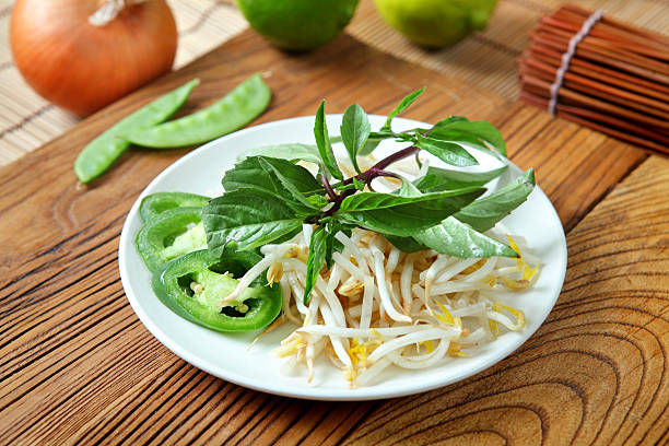 vietnam side dish - pho soup stock photos and pictures