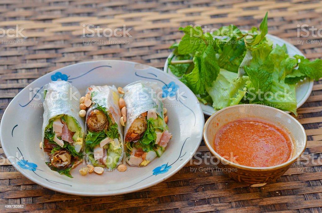 vietnam spring roll in Mui Ne, Phan Thiet stock photo