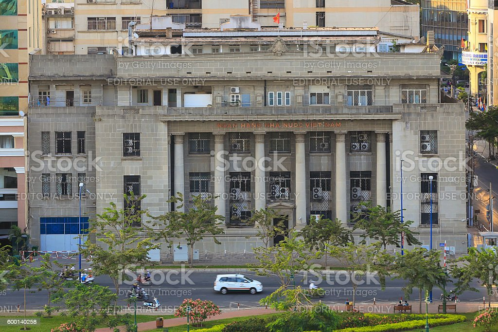 Vietnam state bank building in downtown of Hochiminh city stock photo