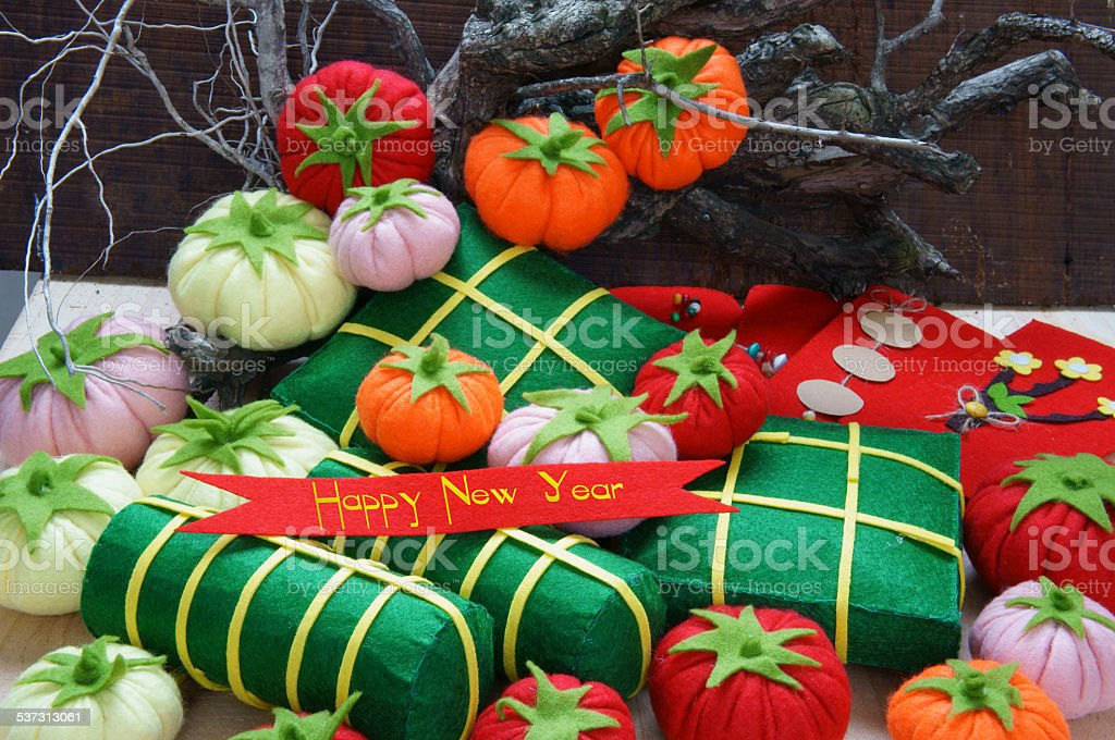 Vietnam Tet, banh tet, banh chung, Happy New Year stock photo