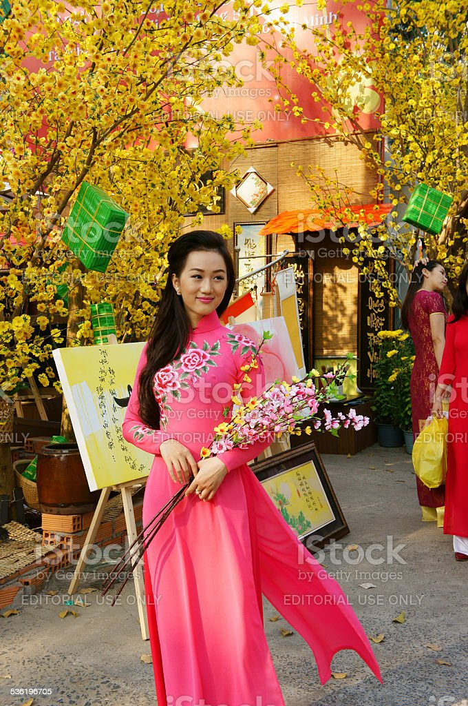 Vietnam Tet, Ho Chi Minh city in springtime stock photo
