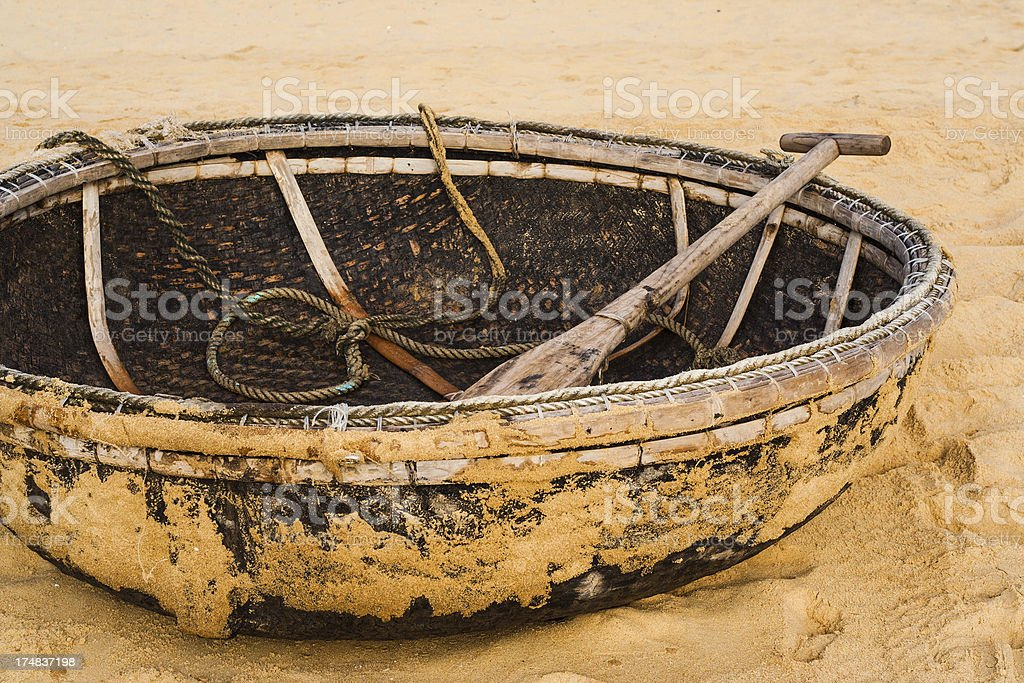 Vietnam, typical fishing boats on the beach in Qui-Nhon royalty-free stock photo