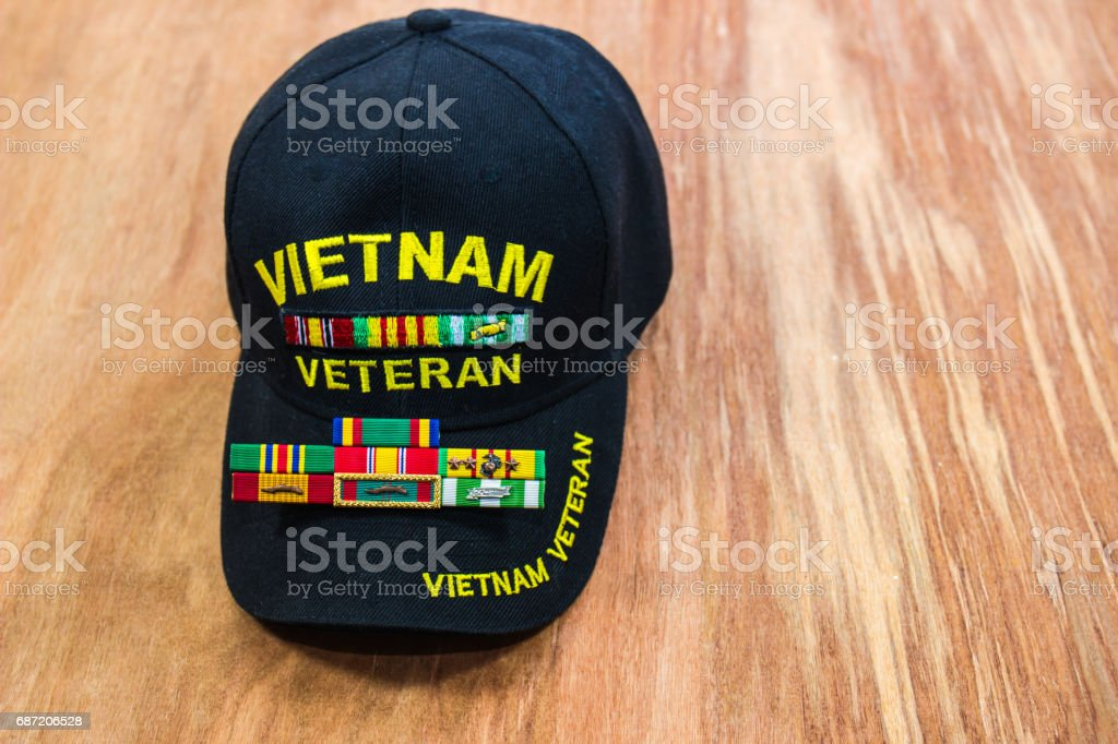 Vietnam Vet Hat & Ribbons stock photo