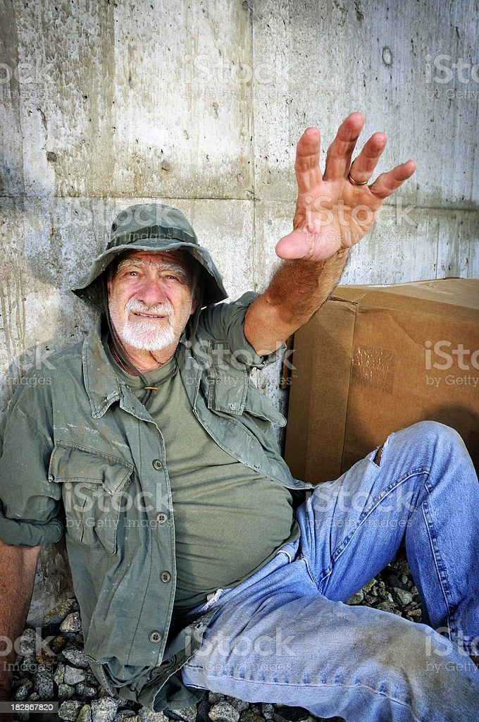 Vietnam Vet Looking for a Hand Up stock photo