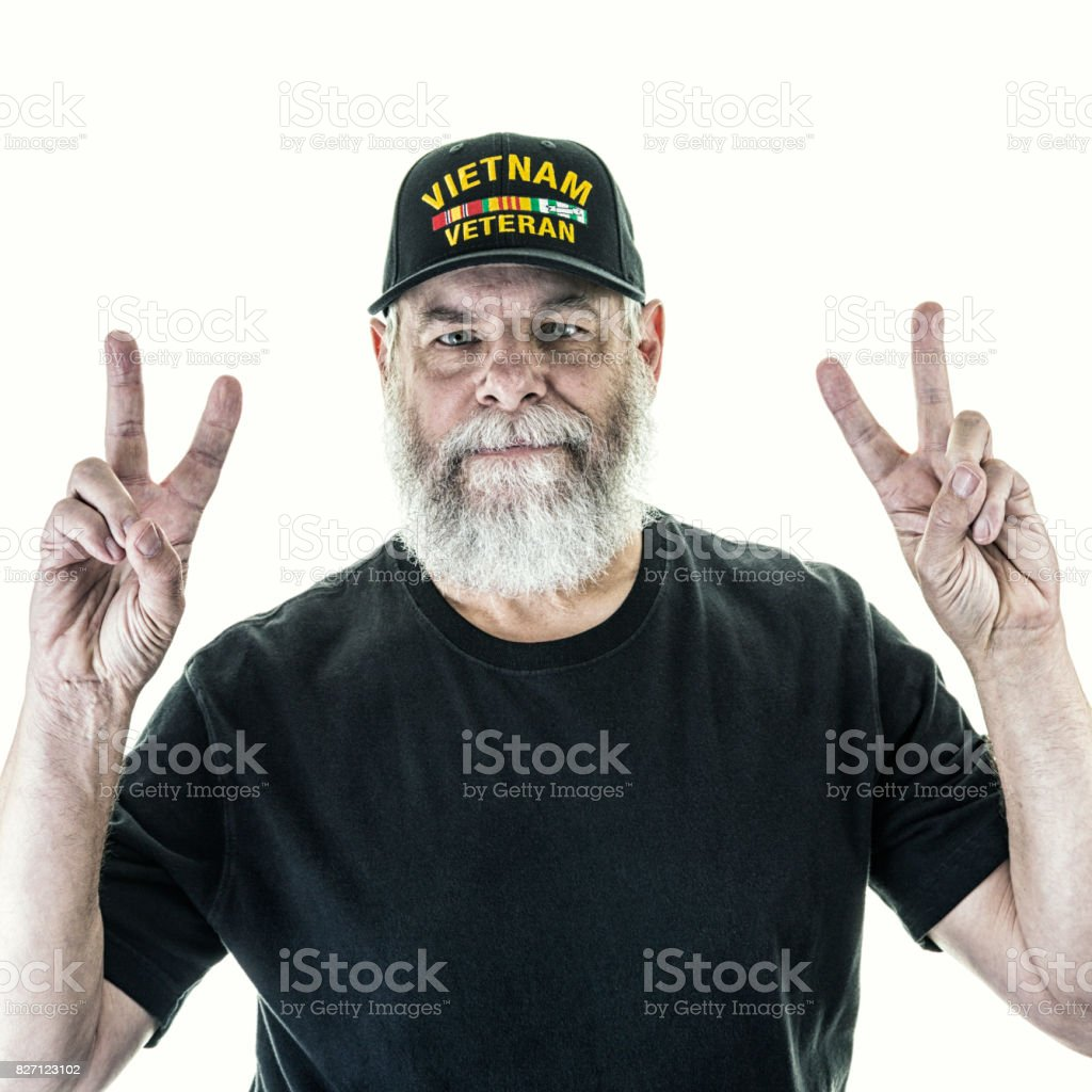 USA Vietnam Veteran Two Hands Victory Peace Gestures stock photo