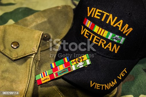 istock Vietnam Veterans Hat, Service Ribbons & Pouches 963299114