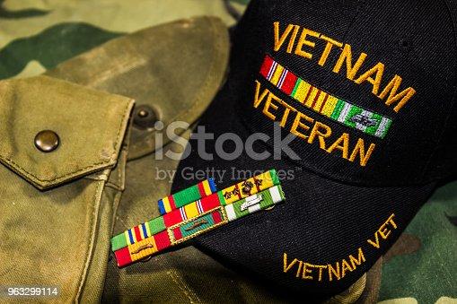 istock Vietnam Veterans Hat, Service Ribbons & Pouches 963299114