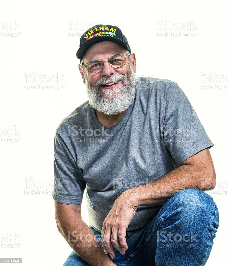 USA Vietnam War Military Veteran Smiling stock photo