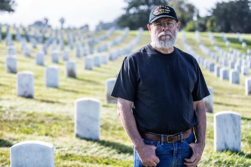 Vietnam War USA Navy Veteran Mourning at Military Cemetery