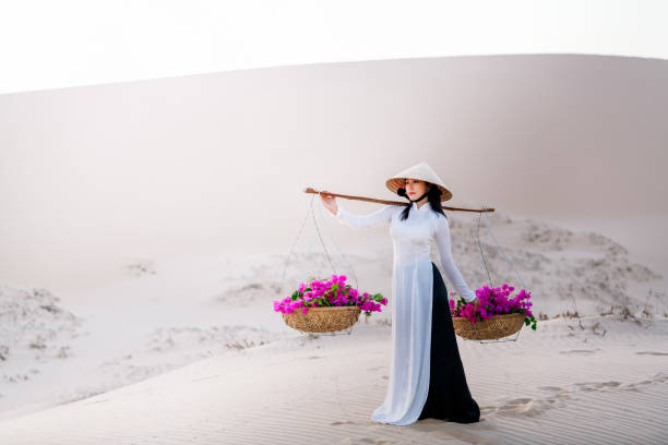 vietnam woman wearing ao dai culture traditional dress at red sand. - ao dai stock photos and pictures