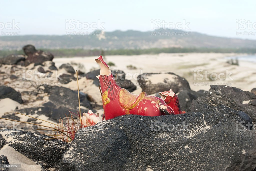 Vietnamese altar on the background of  hills, sea and forest royalty-free stock photo