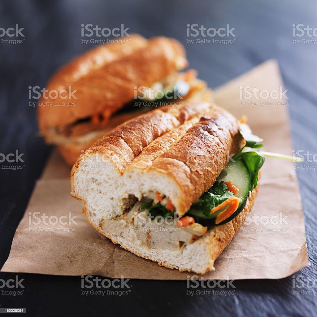 vietnamese bahn mi sandwich halves stock photo