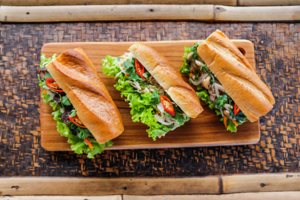Vietnamese banh mi sandwich Close up variation style of vietnamese banh mi sandwich bánh mì sandwich stock pictures, royalty-free photos & images