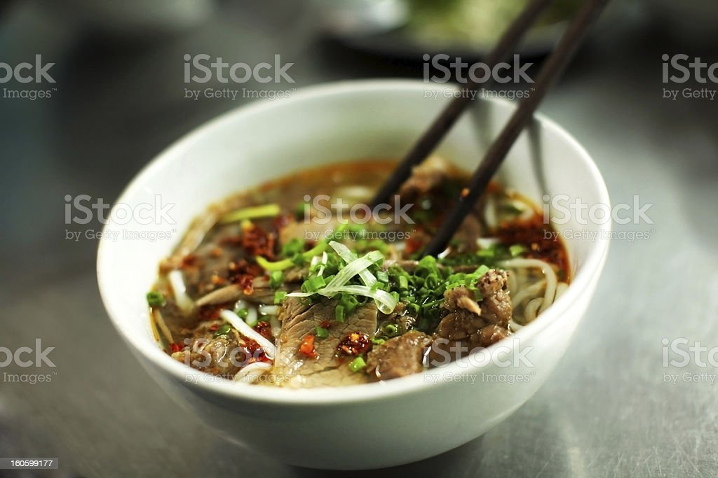 Vietnamese beef noodle soup called pho stock photo