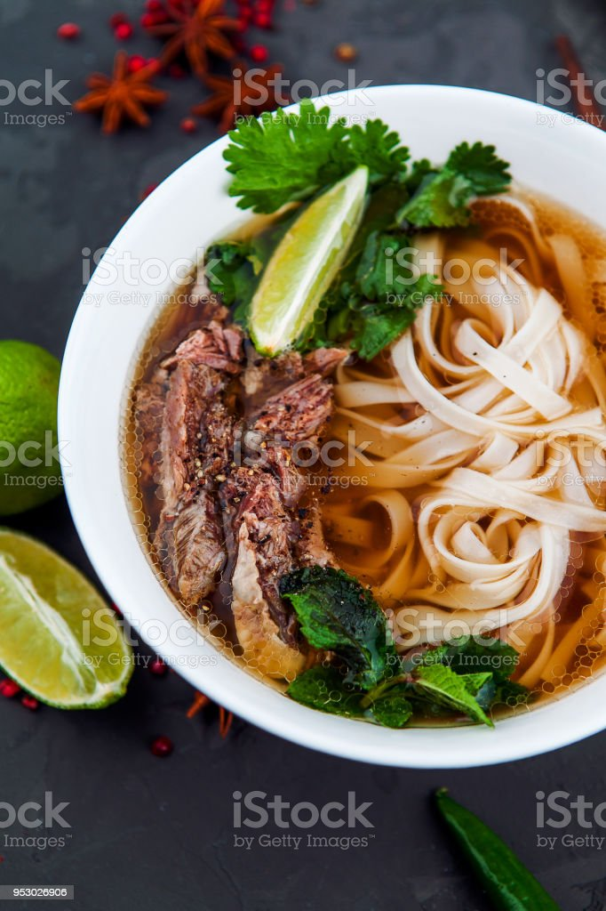 Vietnamese Beef Noodle Soup Pho Bo With Beef On Dark
