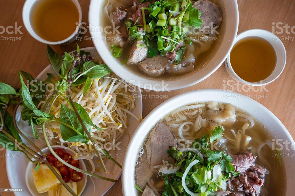 Vietnamese beef noodle soup stock photo
