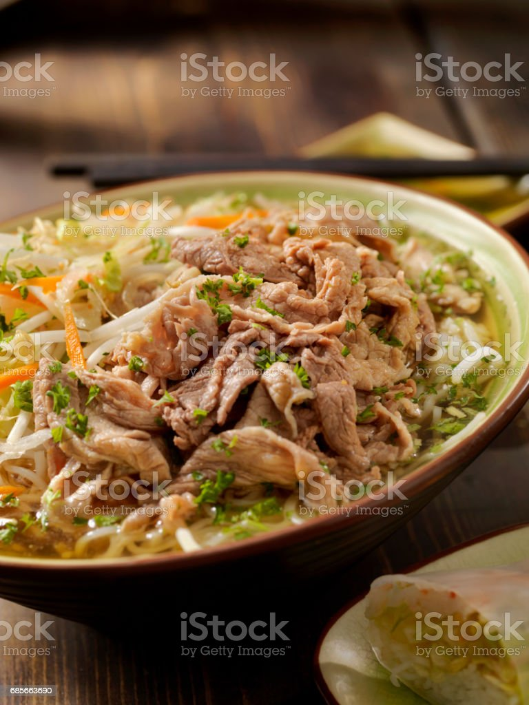 Vietnamese Beef Rice Noodle Soup (PHO) royalty-free stock photo