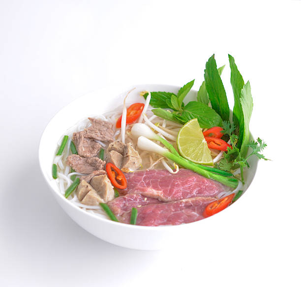 vietnamese beef soup pho - pho soup stock photos and pictures