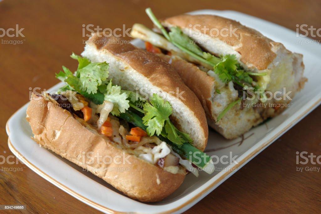 Vietnamese  bread banh mi stock photo