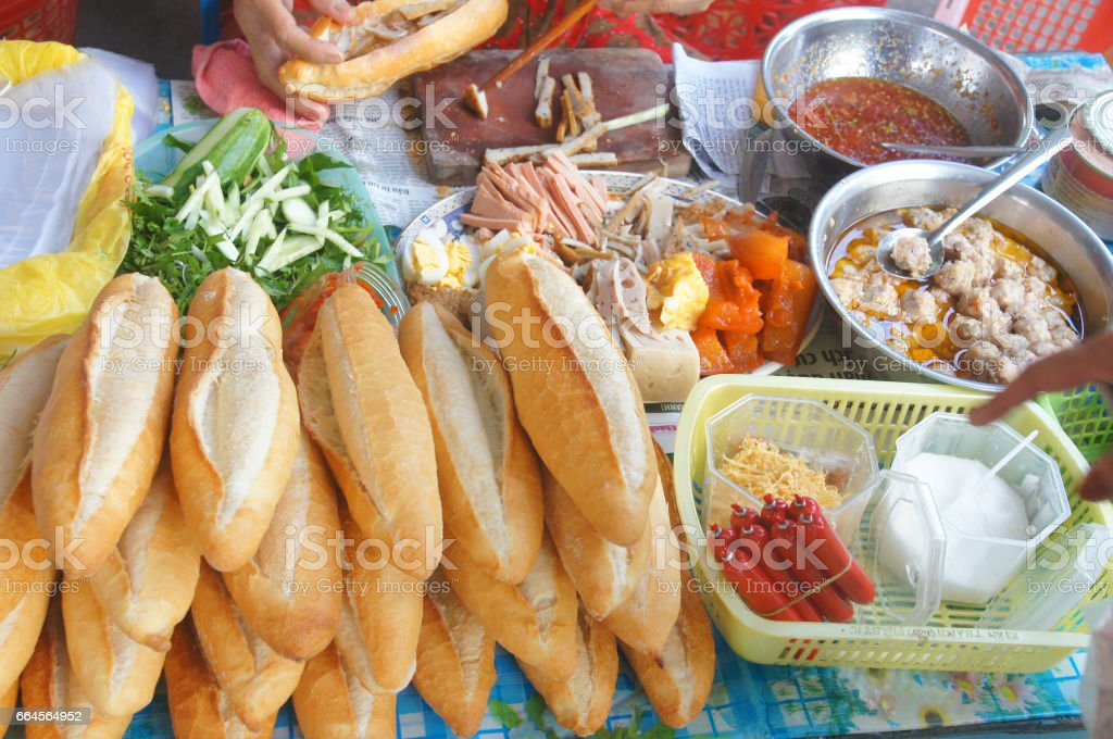 Vietnamese bread stall with lot of stuffed things stock photo