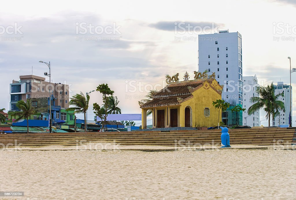 Vietnamese building architecture at China Beach in Danang in Vietnam stock photo