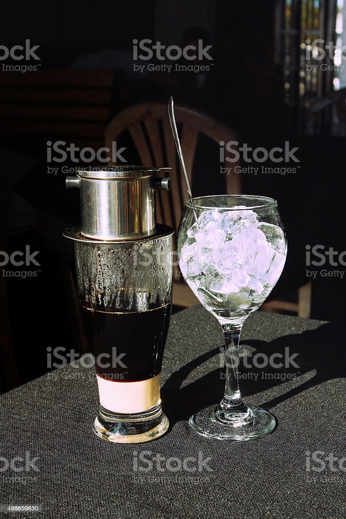 Vietnamese Cambodian iced coffee with condensed milk stock photo