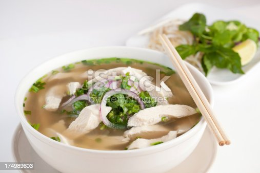 Vietnamese Chicken Pho Noodle isolated on white.
