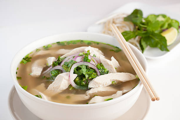 vietnamese chicken pho noodle - pho soup stock photos and pictures
