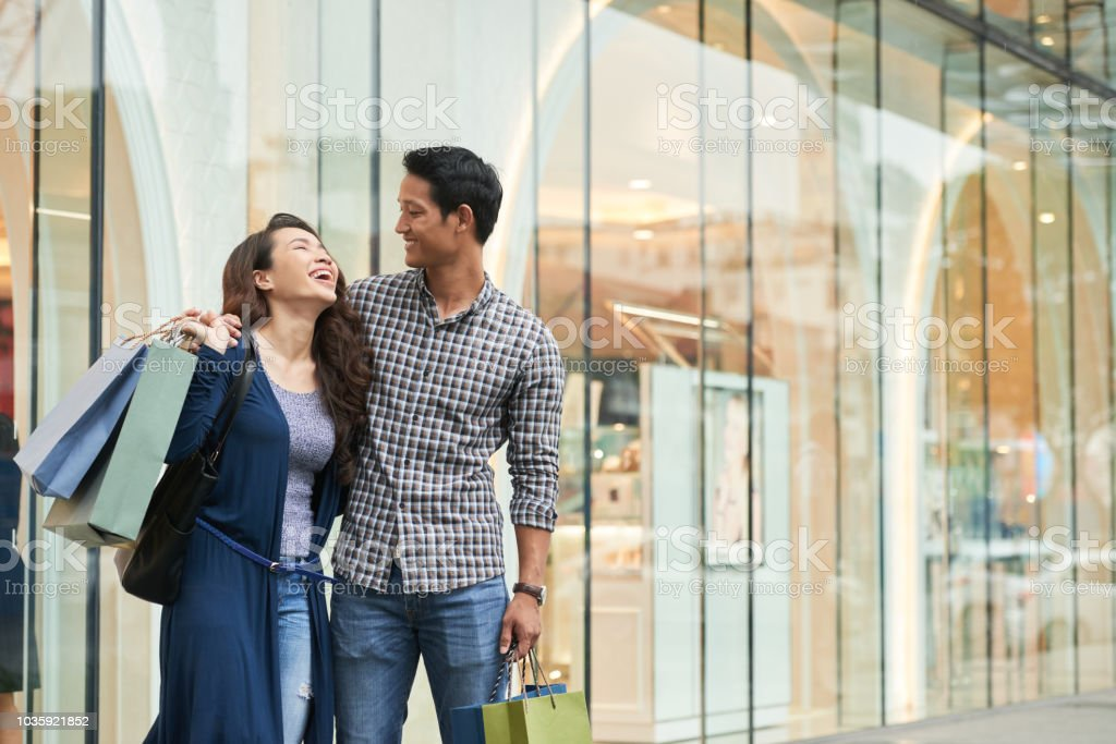 Vietnamese couple shopping stock photo
