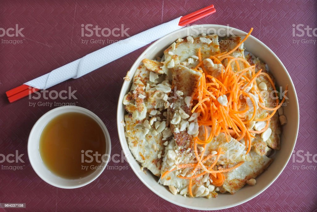 Vietnamese cuisine -Lemongrass chicken salad with fish sauce - Royalty-free Above Stock Photo
