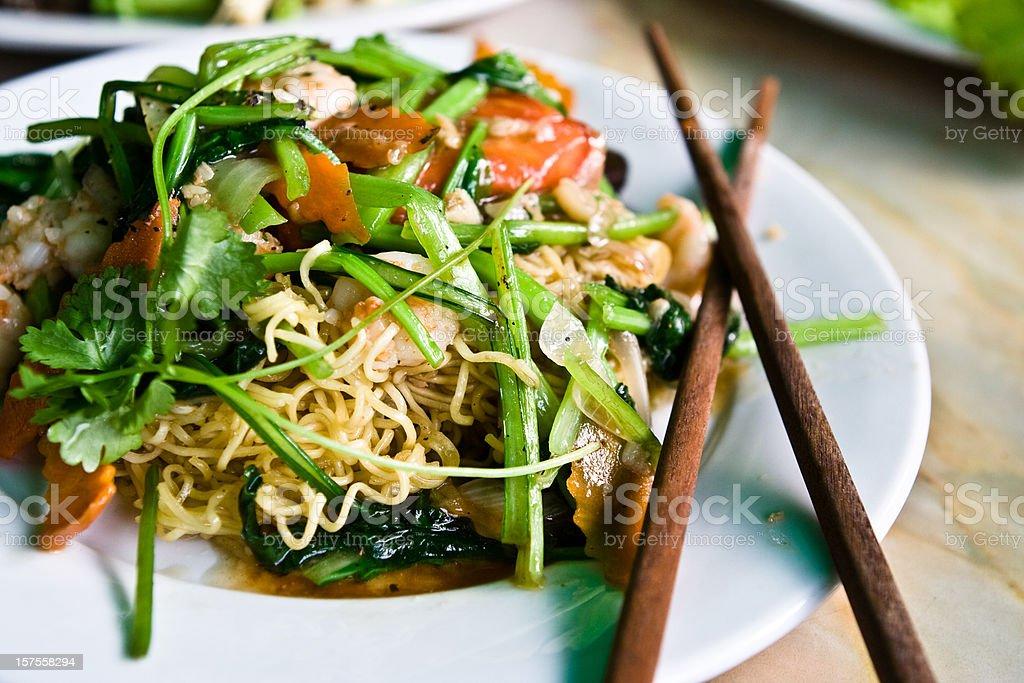 Vietnamese cuisine. Shrimp noodle dish stock photo