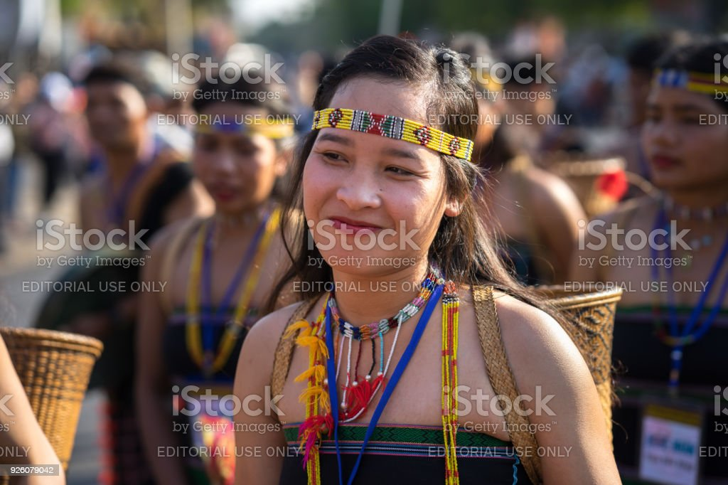 Vietnamese ethnic minority people wears traditional costumes performing a traditional dance at an event organised in Daklak, center highland of Vietnam stock photo