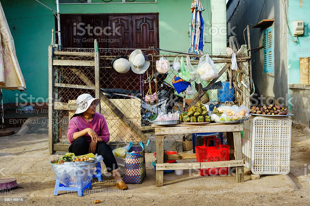 Vietnamese fast food vendors at Long Hai market, Vung Tau stock photo