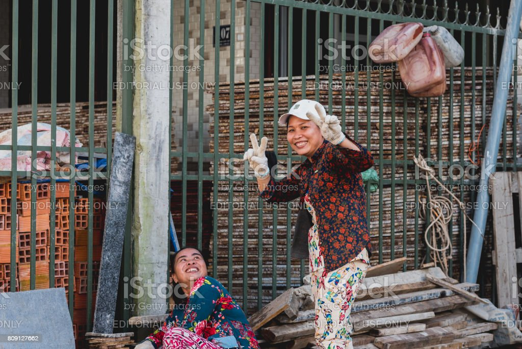 Vietnamese female workers stock photo