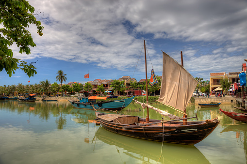 Vietnamese Fishing Boats In A Village In Hoi An Vietnam Stock Photo - Download Image Now