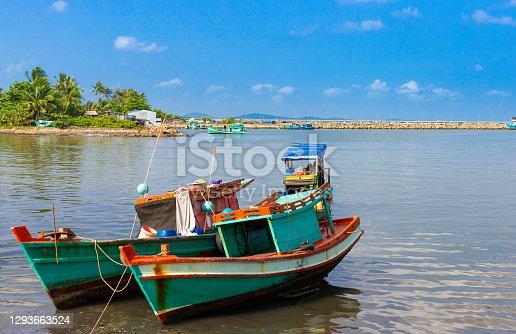 Wooden fishing boats. Phu Qouc island, Vietnam
