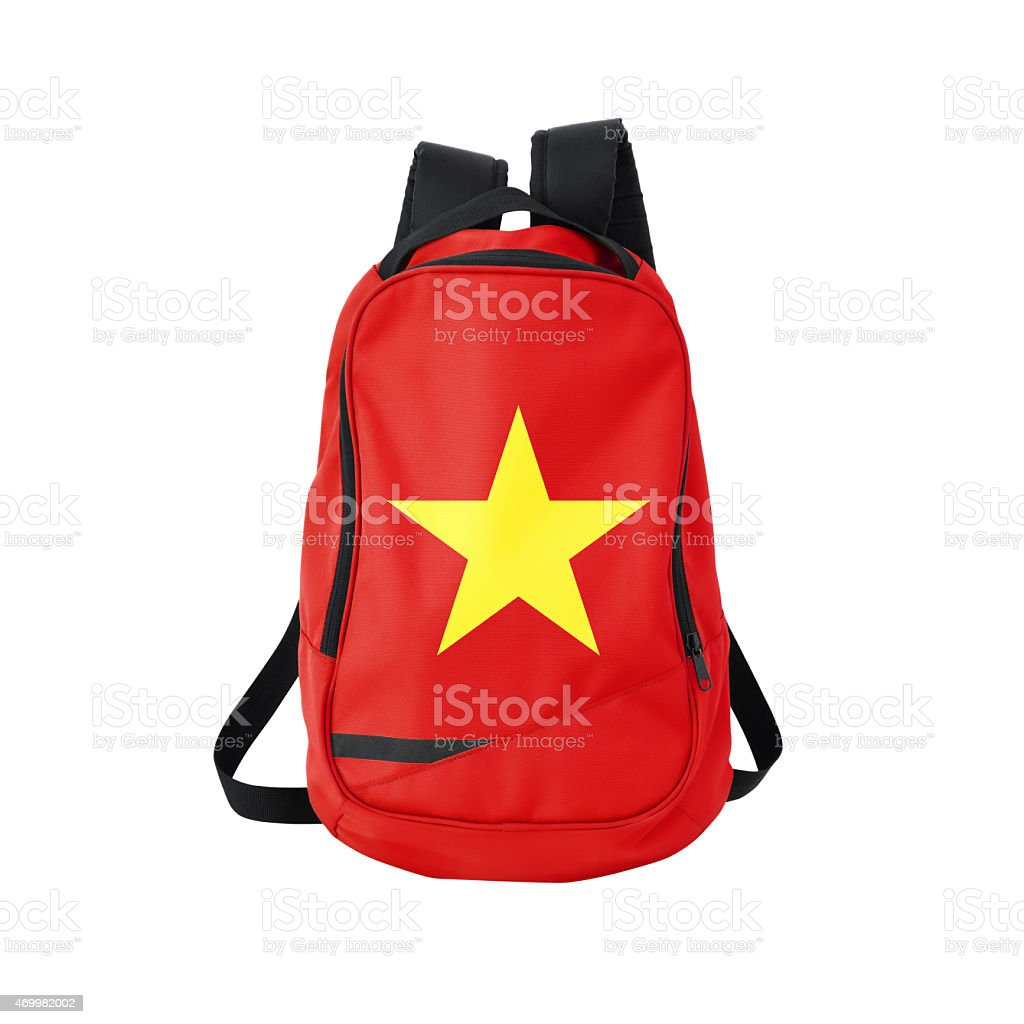 Vietnamese flag backpack isolated on white w/ path stock photo