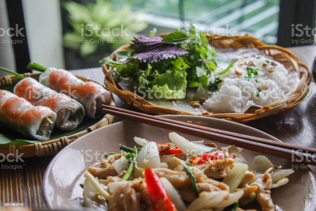 Vietnamese food arranged on table royalty-free stock photo
