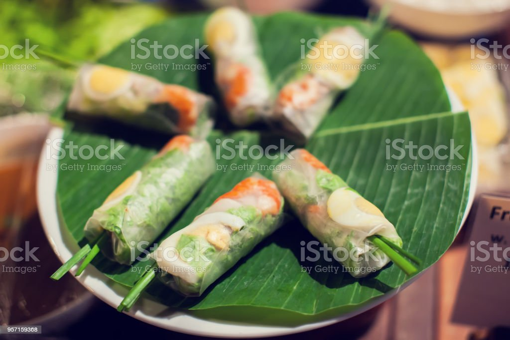 Vietnamese food, banh chung, banh tet are traditional eating on Tet holiday stock photo