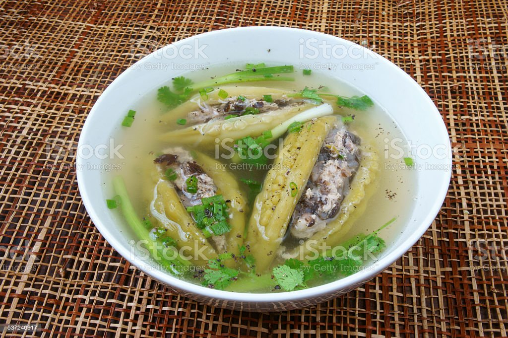 Vietnamese food, bitter melon, ground meat stock photo